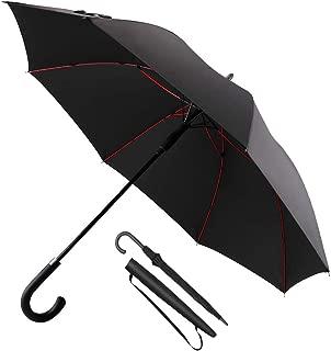 CosyInSofa 傘 メンズ レディース 長傘 超軽量 全グラスファイバー材質 撥水耐風 丈夫 210T ワンタッチ傘 大きな傘 ゴルフ傘 紳士傘 uvカット 梅雨対策 晴雨兼用 収納ポーチ付き ブラック