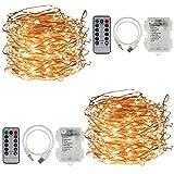CPROSP Guirnalda de luces con pilas, color blanco cálido, 2 x 20 m, IP68,...