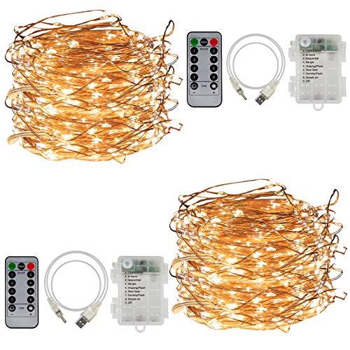 CPROSP Lichterketten Batterie Warmweiß 2* 20M IP68 Wasserdicht mit Timer und Fernbedienung 400LEDS 8 Modi Dimmbar Deko für Innen und Außen Weihnachtslichterkette