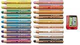 Stabilo Woody Buntstift 3 in 1 Holz Multitalent-Farbstift rund Set (18 Stifte mit Anspitzer rot, Sortiert   18 Farben)