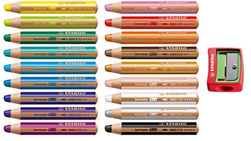 Stabilo Woody Buntstift 3 in 1 Holz Multitalent-Farbstift rund Set (18 Stifte mit Anspitzer rot, Sortiert | 18 Farben)