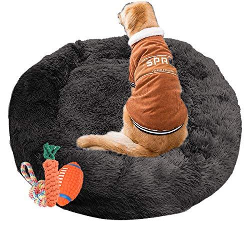 jHuanic Flauschiges Hundebett, großes Haustierbett, Sofa, waschbar, Katzenbett, Welpenbett, rund, gemütlich, Donut, kuschelig, bequem, Hundebett für große, mittelgroße Hunde (L-80 cm, schwarz)