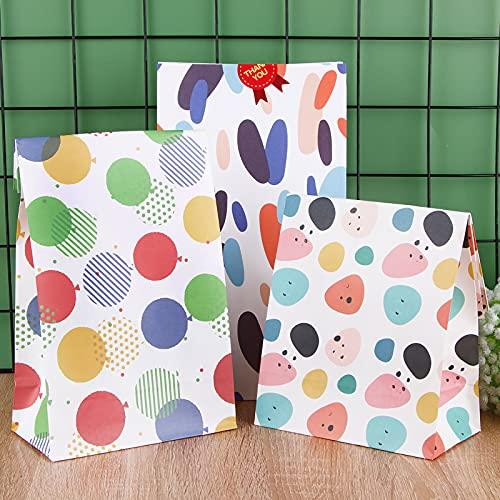 12pcs Bolsas de Papel Kraft Bolsas de Regalos 15 * 8 * 27cm 3 Estilos Geométricos Embalaje de Regalo Dulces Galletas Bombones de Fiesta de Cumpleaños Bodas Navidad Bautizo