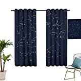 Mozenou Constellation,Grommet Curtains,Sky Map Andromeda Lacerta Cygnus Lyra Hercules Draco Bootes Lynx,Ideal for Living Rooms and bedrooms,55x72 Inch Dark Blue Yellow White