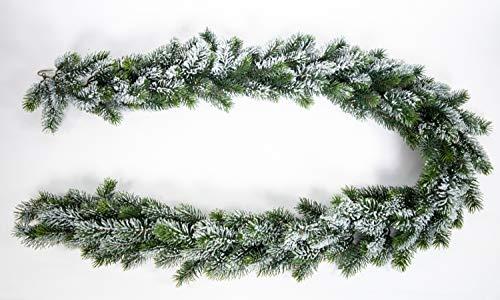 Seidenblumen Roß Künstliche Tannengirlande mit Schnee aus Kunststoff 190cm DP Kunsttanne Spritzguss 100% PE