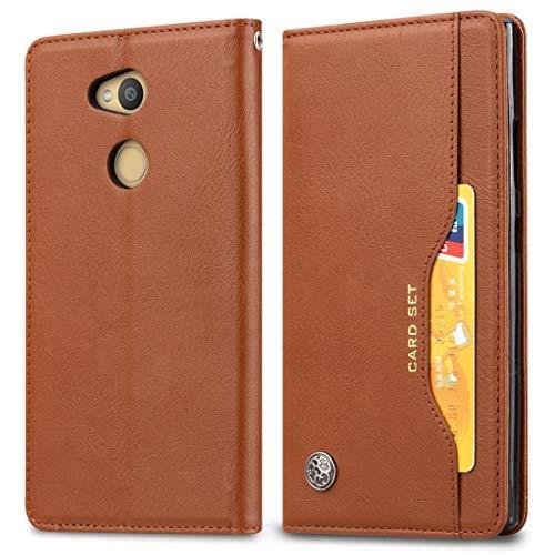 Liaoxig Custodie Sony Custodia in Pelle a Vibrazione Orizzontale for Sony Xperia L2, con portafoto e Porta-Carte e Portafogli (Nero) Custodie Sony (Colore : Brown)