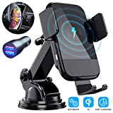 Wireless Car Charger, CTYBB Qi Auto-Clamping Air Vent Dashboard Car Phone Holder & QC3.0 Car Charger, 10W...