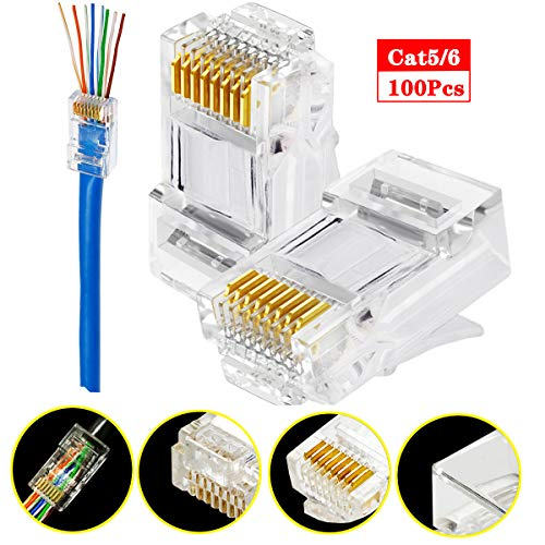 RJ45 Cat6 Cat5 Connector Gold Plated 8P8C Ethernet Pass Through Plug(100Pack)