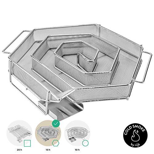 riijk Kaltrauchgenerator zum Kalträuchern im Smoker, Grill usw. | Räucherschnecke 6 eckig – Sparbrand Kaltraucherzeuger | Räucherspirale für Räucherspäne