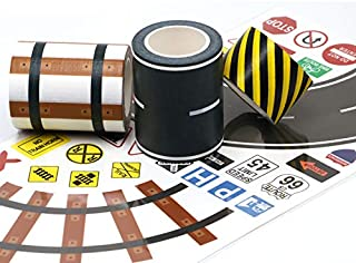 Manzawa Road Tape for Toy Car & Trains,3 Tape Rolls, Bonus 160 Traffic Sign Die Cut Stickers, 4 Road Tight Curves and 4 Tr...