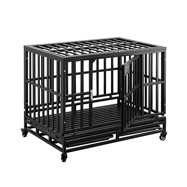 PUPZO Dog Cage Crate Kennel Heavy Duty Tear Resistant Square Tube with Four Wheels for Large Dogs Easy to Install