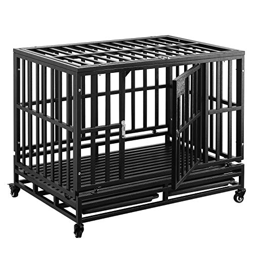 PUPZO Dog Cage Crate Kennel Heavy Duty Tear Resistant Square Tube with Four Wheels for Large Dogs Easy to Install (38 INCH, Black) Basic Crates