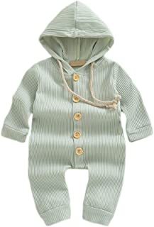 Weixinbuy Baby Boys Girls Sleepwear Pyjama Solid Color Long Sleeve Hooded Romper Bodysuits Clothes for Toddler Newborn Baby