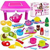 FUNERICA Toddler Folding Storage Table with Tea Set, Toy Dishes and Utensils & Play Food | with Cutting Fruits & Knife | Kids Pretend Kitchen Accessories Tableware - Gift for Toddler Girls