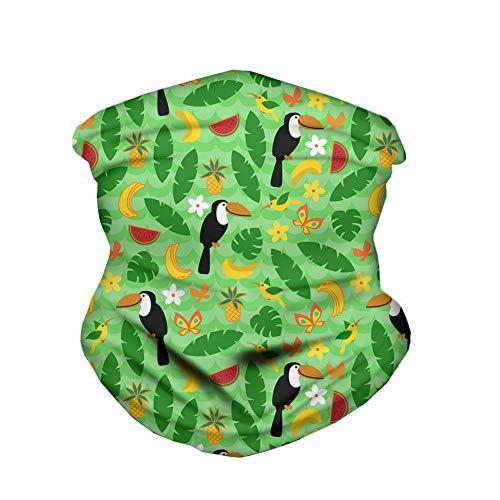 ECONG Woodpecker Banana Fox Flower Butterfly Leaf Cartoon Bandana Multifonction Guêtres de Cou Écharpe sans Couture Gaiter Neck Rapide Écharpe Salive Dust UV Outdoor Cycling Camping Randonnée