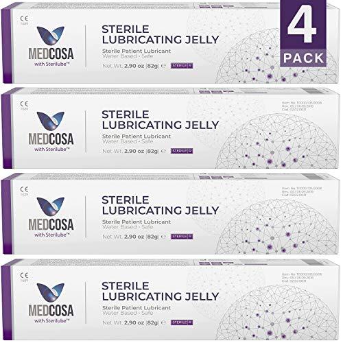 Medcosa - Lubricante estéril   Lubricante quirúrgico   Bacteriostático   Gel lubricante a base de agua   Lubricante médico en tubo, 82 g (paquete de 4)