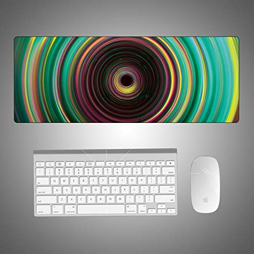 AUYTQ Extended Gaming Mouse Color Spiral Vision 80X30 cm Pad with Stitched Edges, Large Mousepad with Non-Slip Rubber Base for Work & Gaming, Office & Home