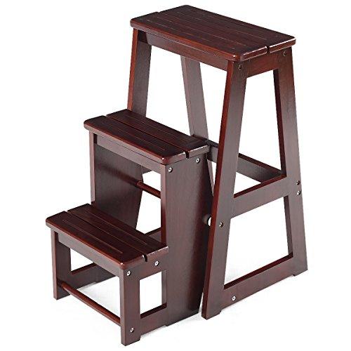DREAMADE dreistufiger Tritthocker Klappstufen, Trittleiter aus Holz, Treppenstuhl klappbar, Leiterstuhl Hockerleiter Klapphocker, Faltstuhl Trittstuhl Haushaltstritt mit 3 Stufen (Kaffee)