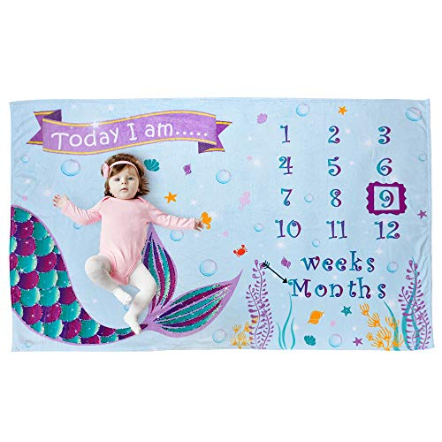WERNNSAI Manta de Hito Bebé - Lana Telón de Fondo de la Fotografía Prop para Niñas Recién Nacido Bebé Baby Shower Regalo de Cumpleaños Sirena Mantas Semanales Mensuales, 150 x 100cm