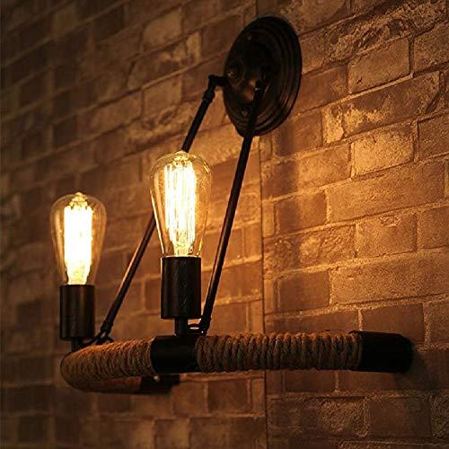 Loft Vintage Rope wandlamp, retro, 2 lampen dubbele koppen hanglamp gevoerd in landelijke stijl wandlamp 110 V ~ 240 V