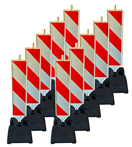 UvV-Reflex UVLB2055-10 x K1 Fussplatte + 10 x Sicherheitsbake, Leitbake, Warnbake Schraffenfolie - FolieKlasse RA1 A links-rechtsweisend