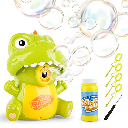 Vanmor Bubble Machine Toys for Kids, Manual Auto Dinosaur Bubble Blower for Party, Outdoor Indoor Games,Best Bubble Toy Gift with Music Light for 2 3 4 5 Year Old Boys Girls