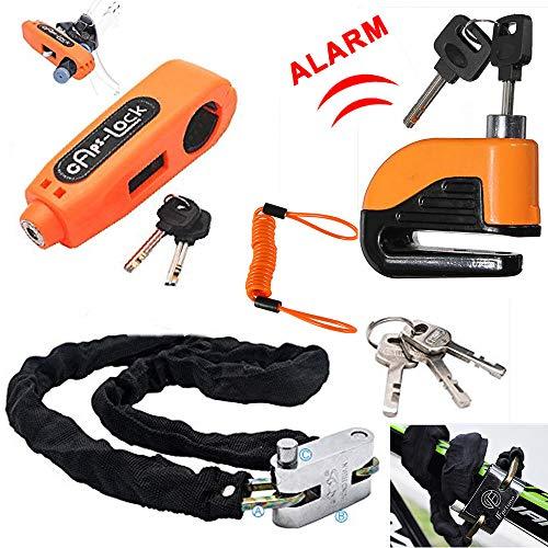 Maso Alarm Disc Brake Lock + Motorcycle Handlebar Lock + Motorbike Heavy Duty Padlock Anti-Theft Security Lock Set + 1.5m Reminder Cable (Set D)