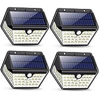 Luz Solar Exterior, [2019 Más Nuevo Modelo 60 LED - 800 Lumens] iPosible 270 °Iluminación de Cuatro Lados Foco Solar con Sensor de Movimiento Impermeable Lámpara Solar 3 Modos para Jardín 4-Paquete