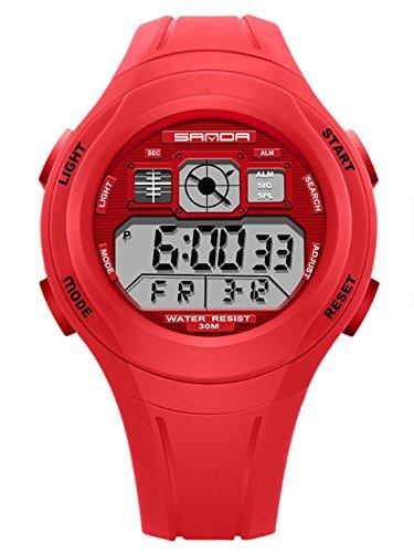 SANDA - Reloj para Niños Niñas Deportivos LED Digital a Prueba de Agua Reloje Impermeable Infantil Sport Watch - Rojo