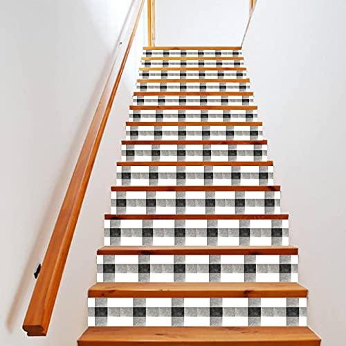 tzxdbh losetas vinilo para escaleras Blanco y negro a cuadros 100CMx18CMx13pieces(39.3'w x 7'h x 13pieces) Ecológicas PVC Autoadhesivas Calcomanías para Escalera Impermeables Extraíbles para Decoració