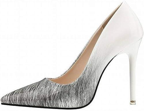 Wisdom Acentuado Profesional de Tacón Alto Color Gradiente zapatos Súper Altos de Las mujeres de Tacón de Aguja zapatos de Encanto de Boca Baja, blanco, 38