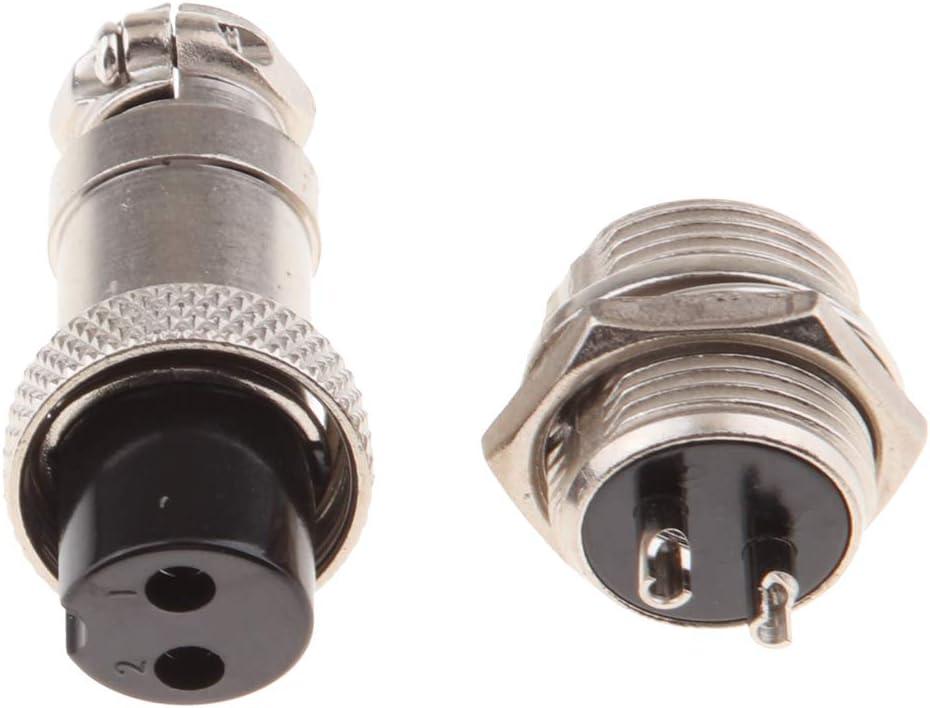 Baoblaze GX16 2 Broches Connecteur de Panneau Femelle M/âle en M/étal