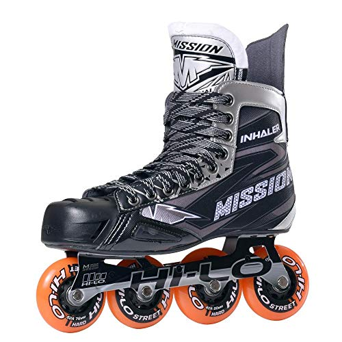 MISSION Inlinehockey Skate Inhaler NLS:05 (SMU) SR, Größe 8.0/EU43, Weite E, Rollenhärte 84A, HI-LO Steel Chassis, ABEC 5 Bearing