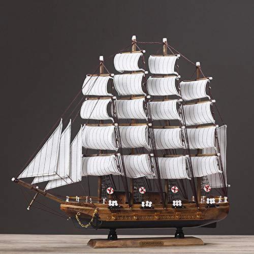 Yanxinenjoy Mediterranes Segelschiffmodell, Glatte Segeldekoration, Simulation Massivholzboot, Wohnzimmerdekoration, Handwerksboot