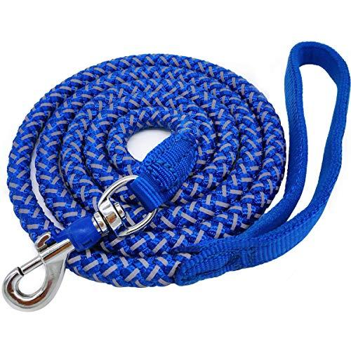 Mycicy Hundeleine, reflektierend, aus Nylon, geflochten, robust, für kleine und mittelgroße Hunde, 1,8 m, Blau