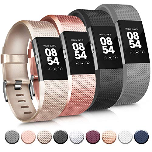 Tobfit Sport Silicone Bands Compatible for Fitbit Charge 2 Classic & Special Edition, 4 Pack, Black/Champagne/Rose Gold/Grey, Large