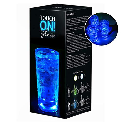 touchON!glass Creano Ausgefallenes Trinkglas/Longdrinkglas touchON!glass, Leuchtglas mit LED-Lichteffekt, 300ml, blau