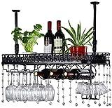 LLT Wine Rack, Della Novità Della Decorazione Della Parete Rack, Wine Rack Mensola Di Vetro Metallo Calice Rack Nero a Soffitto Attaccatura Del Supporto Di Vetro Di Vino Upside Down Shelf,100 × 25 cm