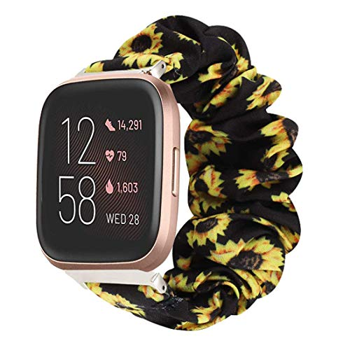 LvBu Armband Kompatibel mit Fitbit Versa 2, weiche Haargummis Uhrenarmband für Fitbit Versa 2 Health & Fitness Smartwatch (Sunflower)