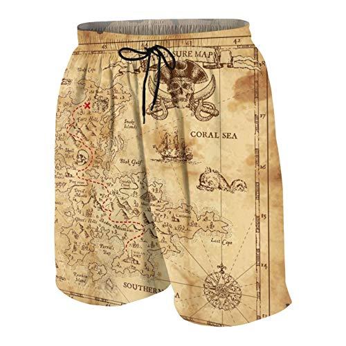 Popsastaresa De Los Hombres Casual Pantalones Cortos,Mapa Pirata,Secado Rápido Traje de Baño Playa Ropa de Deporte con Forro de Malla