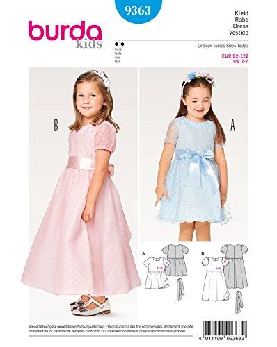 Burda 9363 Schnittmuster Fesstagskleid mit Puffärmel (Kids, Gr. 92-122) Level 2 leicht