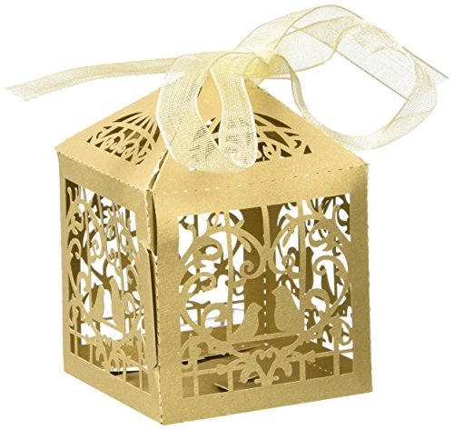 Derker 50 Pcs Romantic Hollow Out Love Birds Laser Cut Square Wedding Favor Candy Boxes Bridal Shower Party Favor Gift Boxes - Ribbon Included (White)