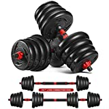MOVTOTOP 66.14 LBS Adjustable Dumbbell Set, 2 in 1 Dumbbell Weights Set for Men,Women, Beginner, Non-Slip Durable Dumbbell/Barbell Set for Home Workout, Exercise, Fitness, Gym