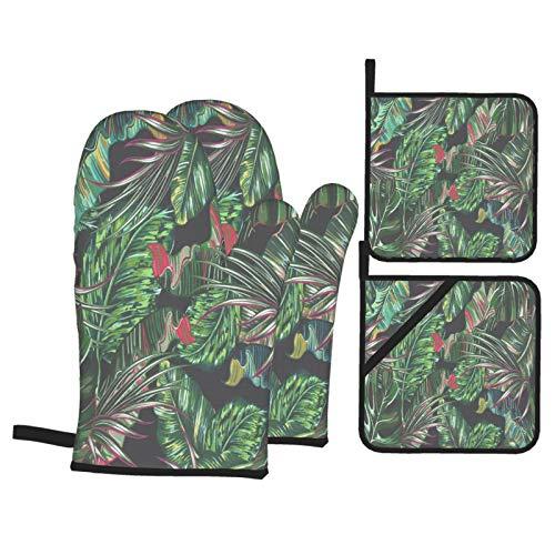 Juego de 4 Guantes y Porta ollas para Horno Resistentes al Calor Hojas de Palmera Tropical Hoja de Selva Transparente para Hornear en la Cocina,microondas,Barbacoa