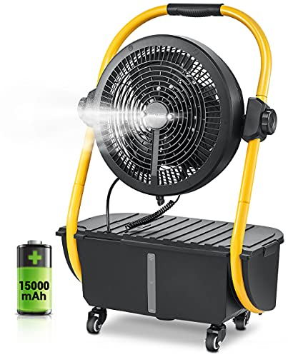Geek Aire Battery Operated Misting Fan, Rechargeable Outdoor Floor Fan with 2.9 Gal Water Tank, 15000mAh Powered Waterproof Durable Battery Run for Patio, Camping Gear Accessories - 12 Inch