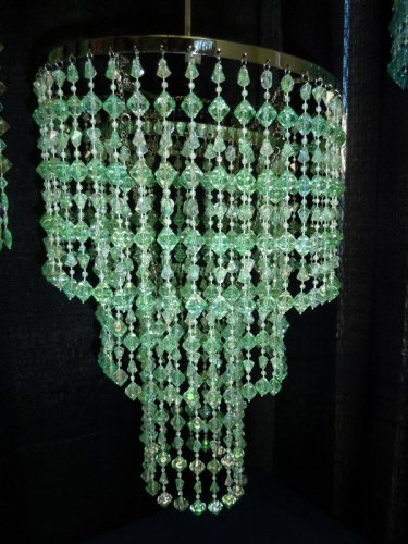 "15.5"" long Green Acrylic Beaded Chandelier - Wedding Party Room Decorations"