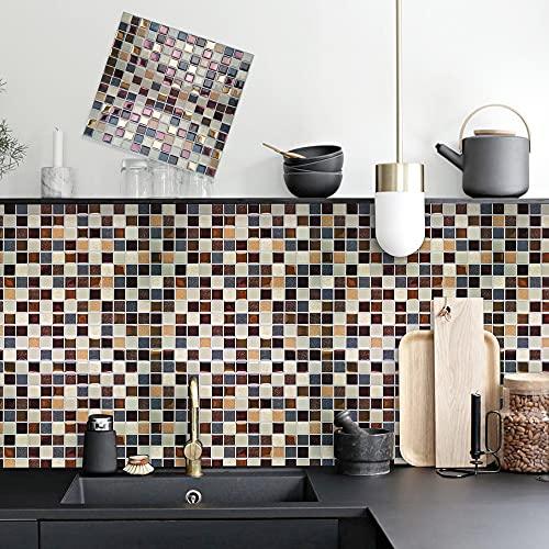 Acmxk Azulejos Adhesivos para Sala de Estar Dormitorio Cocina Baño, Mosaico DIY Papel Pintado, Impermeable Protector contra Salpicaduras 10piezas/Juego