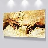 NOBRAND Gran Lienzo de Pintura ¡Creación de Adán! ¡Mano de Dios! Classical Religion Wall Pictures Living Room Lámina de póster 70x140cm, sin Marco