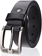 Men Belt Leather Youth Leisure Business Men Fashion (Color : Black, Size : 125cm)