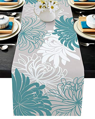 Cotton Linen Table Runner 72inches Long,Contemporary Floral Teal,Burlap Table Cloth Dresser Scarves for Farmhouse Dining Room/Holiday/Party/Wedding/Events,Chrysanthemum Flower,Machine Washable